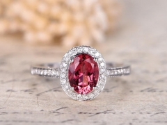 DUPUY 6x8mm Oval Pink Tourmaline Engagement Ring Half Eternity Diamond Band