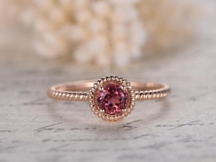 DUPUY 5mm Round Pink Tourmaline Engagement Ring