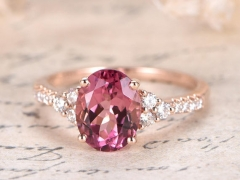 DUPUY VS Natural pink Tourmaline Engagement Ring Deco Floral Wedding Ring