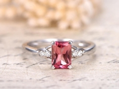 DUPUY 5x7mm Emerald Cut Tourmaline Promise Ring