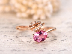 DUPUY 0.8ct Oval Cut Pink Tourmaline Engagement Ring