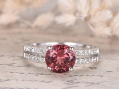 DUPUY Pink 7mm Round Tourmaline Engagement Ring  Half Eternity Diamond Band