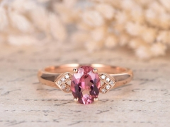 DUPUY Natural 6x8mm Oval  Pink Tourmaline Engagement Ring