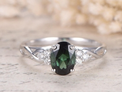 DUPUY VS 6*8mm oval cut Green Tourmaline Engagement Ring
