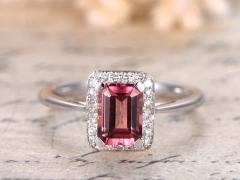 DUPUY 5x7mm Emerald Cut Pink Tourmaline Engagement Ring
