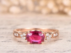 DUPUY 5*7mm  Oval Pink Tourmaline Anniversary Ring