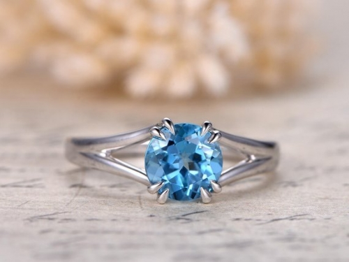 DUPUY 7mm Blue Sky Topaz Solitaire Engagement Ring Plain Band