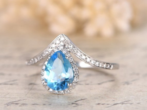 DUPUY 5x7mm Pear Cut Sky Blue Topaz   Curved V Diamond Wedding ring