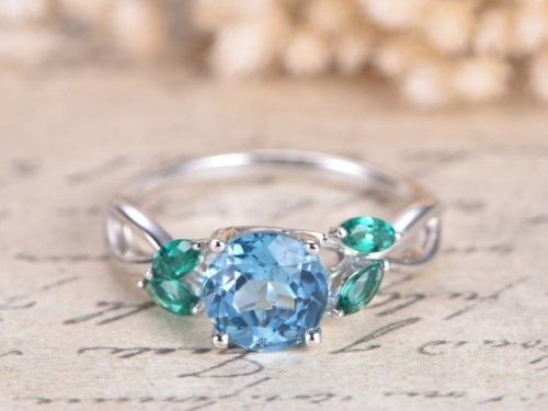 DUPUY 7mm Round  Sky Blue Topaz Engagement Ring  Split Shank Band