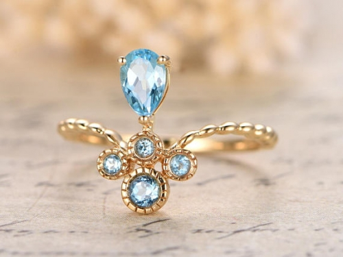 DUPUY Sky Blue 4x6mm Pear Cut Topaz Engagement Ring