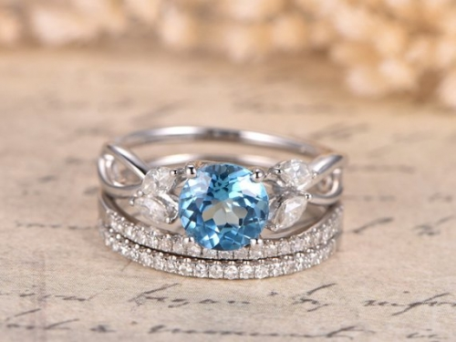 DUPUY 3pcs 7mm Round Sky Blue Topaz Engagement Ring Set Split Shank Band