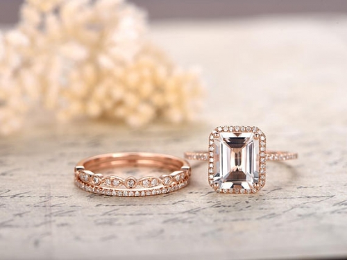 DUPUY  8x10mm Emerald Cut white Topaz Engagement Ring Set