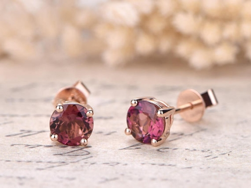 DUPUY 6mm Natural Pink Tourmaline Engagement Earrings