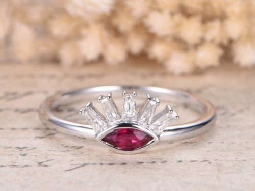 DUPUY VS Red Ruby Engagement Ring  plain Band