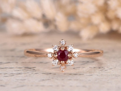 DUPUY VS 3mm round cut Natural Red Ruby  Bridal Ring