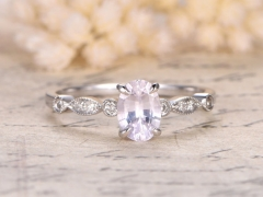 DUPUY  5x7mm Oval Cut White Sapphire Engagement Ring