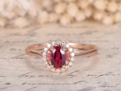 DUPUY VS 4x6mm Oval Ruby Wedding Engagement Ring  Plain Band