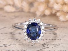 DUPUY Oval Lab-treated Blue Sapphire Ring Plain Band Floral Diamond Ring