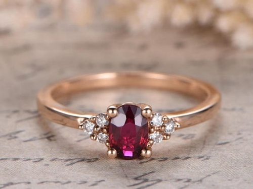 DUPUY VS Oval Lab Treated Red Ruby Engagement Ring