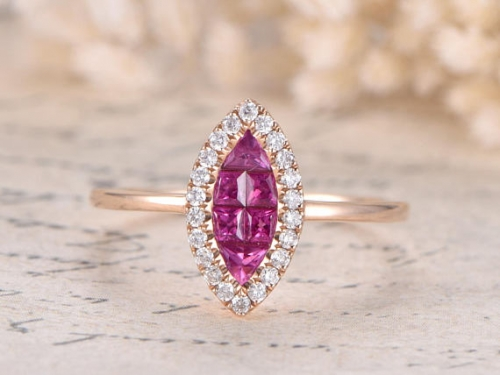 DUPUY VS Red Ruby Engagement Ring Rose Gold