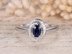 DUPUY 4x6mm Oval Lab-treated Blue Sapphire Floral Diamond Ring