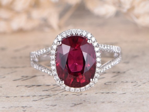 DUPUY VS oval Red Ruby Engagement Ring  White Gold