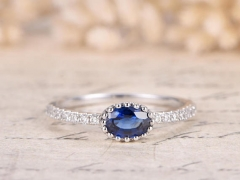DUPUY VS 4*6mm oval cut Natural Blue Sapphire Ring
