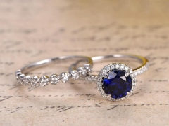 DUPUY 7mm Round Blue Sapphire Engagement Ring Set