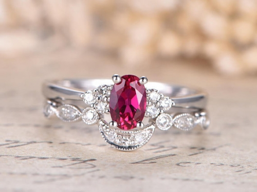 DUPUY VS Oval Lab Treated  Red Ruby Engagement Ring Set