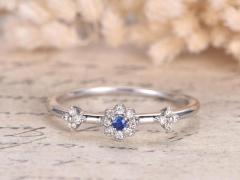 DUPUY VS Natural Blue Sapphire Engagement Ring Floral Diamond Ring