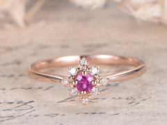 DUPUY VS Pink Sapphire Engagement Ring  Rose Gold