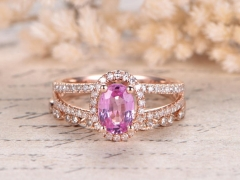 DUPUY 5*7mm Oval Pink Sapphire Engagement Ring