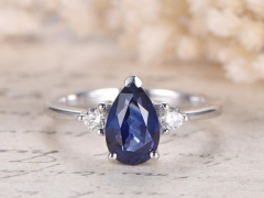 DUPUY White Gold  5.5x8.5mm Pear Cut Lab-treated Blue Sapphire Ring Plain Band Engagement Ring