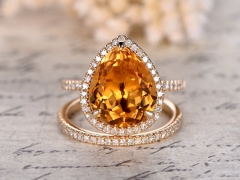 DUPUY 10x12mm Pear Cut Citrine Engagement Ring Set