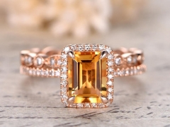 DUPUY 6x8mm Emerald Cut Citrine Bridal Set
