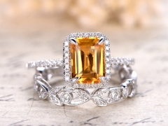 DUPUY 6x8mm Emerald Cut Citrine Engagement Ring Set