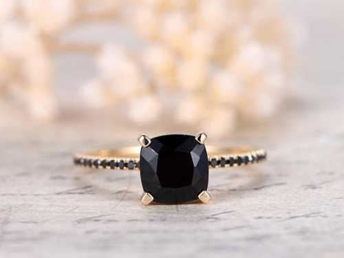 DUPUY 7mm cushion cut Black Spinel Yellow Gold Engagement Ring