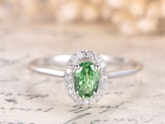 DUPUY oval 4*6mmTsavorite Green Garnet  Engagement Ring