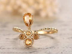 DUPUY Yellow Gold 4x6mm Pear Cut Citrine Floral Engagement Ring