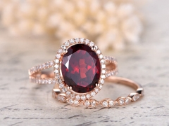 DUPUY 8x10mm Oval Cut Natural Red Garnet Ring Set