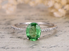 DUPUY Natural Oval 5*7mm Cut Tsavorite Garnet Ring