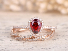 DUPUY 5x7mm Pear Shaped VS Natural Red Garnet Engagement Ring Set