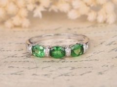 DUPUY Triple Tsavorite Garnet Linked Stones Rings