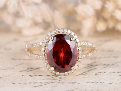 DUPUY 8x10mm Oval Cut red Garnet Ring Split Band