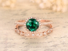 DUPUY  7mm Round Cut Emerald  Art Deco Diamond Wedding  Ring set