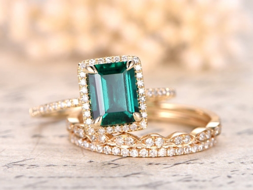 DUPUY 6x8mm Emerald Engagement Ring Set Yellow Gold