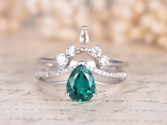 DUPUY 5*7mm Pear Cut Emerald  2pcs Bridal Rings Set