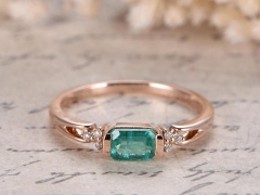DUPUY SI Natural Emerald Engagement Ring  May Birthstone Ring