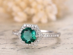 DUPUY 7mm Round cut Emerald Engagement Ring