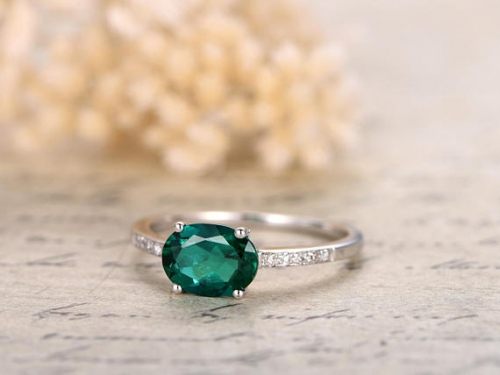 DUPUY 6x8mm Emerald Engagement Ring  White Gold